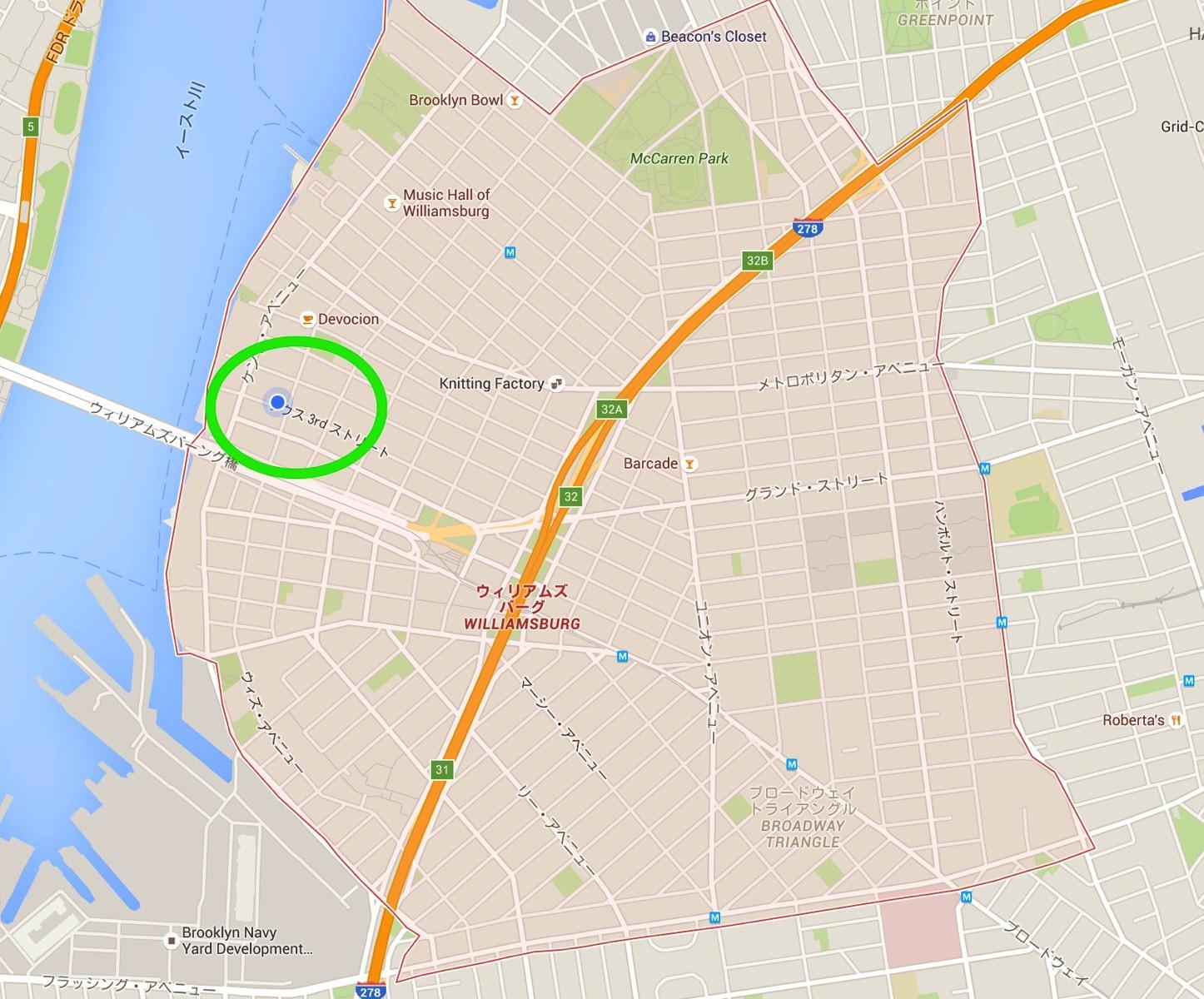 ウィリアムズバーグ Google マップ
